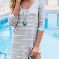 Follow Your Heart Heather Gray Striped V-Neck Long Sleeve Dress
