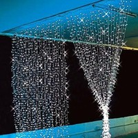 Fuloon 3M x 3M 300 LED Outdoor Party christmas xmas String Fairy Wedding Curtain Light 8 Modes for Choice 110V (White)