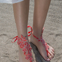 Red Lace Bridal Sandals, Red Silver frame Beach wedding barefoot sandals bangle, wedding anklet, FREE SHIP anklet, wedding gift bridesmaid