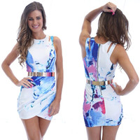 Printed Sleeveless Cutout Belted Mini Bodycon Dress