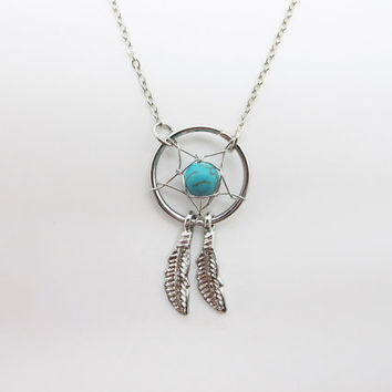 Dream Catcher Necklace  / Feather Necklace/  Twilight Inspired /  Blue Bead Necklace / Native American Jewelry