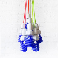 DIY Magic Black Neon Glow Light Pendant Lamp with Color Textile Cord