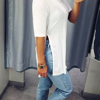 White Side-Slit Tunic