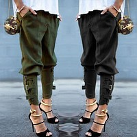 Light Loose Elastic Waist Pencil Pants With Straps And Buckles