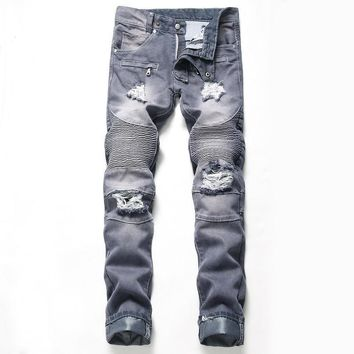 Ripped Holes Strong Character Jeans [3444984315997]