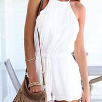White Cut Away Tie Waist Strappy Back Backless Romper
