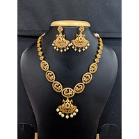 Peacock design Antique matte gold choker necklace and earrings set