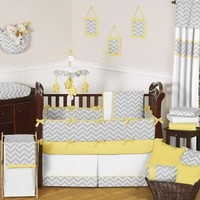 Sweet Jojo Designs Gray and Yellow Chevron Zig Zag Unisex Baby Bedding 9pc Girl or Boy Crib Set