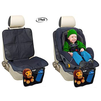 """Car Seat Protector by Lebogner -""""2 Pack"""" Luxury Anti-Slip Mat Cover Protector to Keep Clean and Protect Your Auto Leather and Upholstery Seats from Damage, Includes 2 Handy Mesh Storage Pockets"""