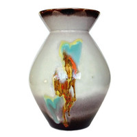 West German Pottery Vase, Gold Rim, Turquoise, Orange, Yellow Drip, Collectible Art Pottery