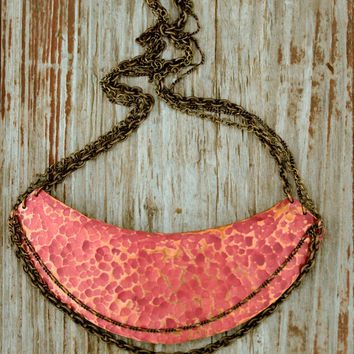 THE DEVA - Bold Cayenne Red Hammered Triple Chain Rustic Patina & Gold Necklace - Boho - Chic - Powerful - Bohemian - Spring Fashion