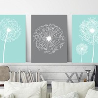 DANDELION Wall Art Canvas or Prints Aqua Gray Bedroom Wall Decor, Aqua Gray Bathroom Decor, Dorm Room Artwork, Home Decor Set of 3 Art