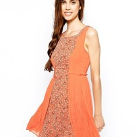 Max C Print Front Dress with Pleated Skirt - Orange