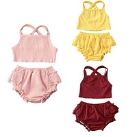 Pudcoco Fast Shipping Infant Baby Girls Clothes Sets Ruffles Solid Sleeveless Belt Vest Tops+Shorts Outfit Clothing Set