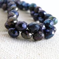 Mystic Spinel Gemstone Briolette Faceted Onion Purple blue 6mm Full strand Wholesale