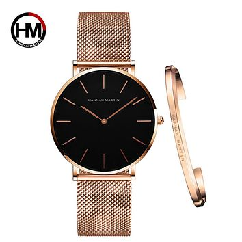 Women Watch 1 set Bracelet Japan Quartz Movement Simple Waterproof Rose Gold Stainless Steel Mesh Ladies watch relogio feminino