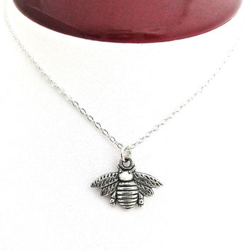 Bee Jewelry, Silver Bee Necklace, Nature, Queen Bee, Bumble Bee, Honey Bee, Bee Necklace, Bee Charm, Cute Necklace, Bug