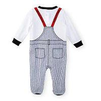 Disney Boys Mickey Mouse Navy Striped Footie