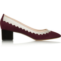 Chloé - Leather-trimmed suede and mesh pumps