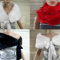 Size Regular Faux Fur Shawl Wrap Bolero Tippet with Ribbons For Bridal Wedding Prom Party US4-8 UK6-10 EU36-40 = 1931631492