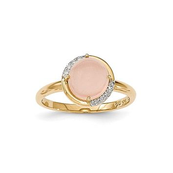 14K Yellow Gold Pink Chalcedony and Real Diamond Ring