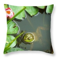 """Frog Among The Lily Pads Throw Pillow for Sale by Joy Nichols - 14"""" x 14"""""""