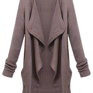 ROMWE   ROMWE Asymmetric Pocketed Long Sleeves Brown Cardigan, The Latest Street Fashion