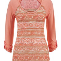 Ethnic Print Lace Back Top - Peach Melba Combo