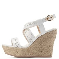 White Laser-Cut Espadrille Wedges by Charlotte Russe