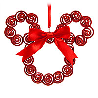 Mickey Mouse Filigree Wreath Ornament - Red