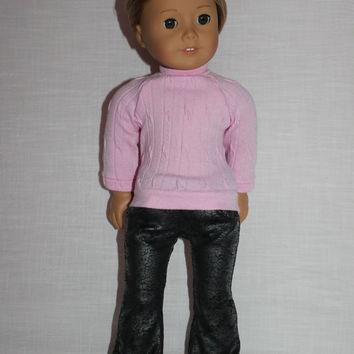 2 piece set,  pink cable sweater,  grey  flare leg leather look jeggings ,18 inch doll clothes, American girl, Maplelea