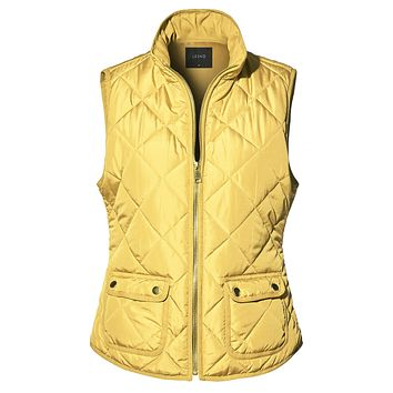 Quilted Stand Collar Zip Up Padded Puffer Vest, Mustard (CLEARANCE)