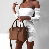 One-shoulder long-sleeved pleated Drawstring tube top sexy dress white