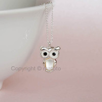 Silver Owl Necklace, Baby Owl Necklace, Owl Pendant, Owl Charm, Bird Necklace