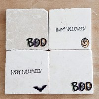 Marble Halloween Coasters// Marble Coasters // Fall Coasters // Halloween Decor // Fall Decor