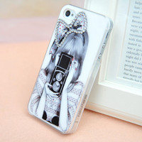 [grdx00292 ]Cool Bowknot Girl Taking Photo Rhinestone Hard Cover Case For Iphone 4/4s/5