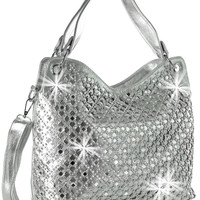 * Rhinestone and Mirror Accented Layered Fashion Handbag In Silver