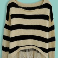Beige Black Striped Contrast Lace Long Sleeve Sweater - Sheinside.com