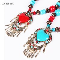 ZH.KH.ONG Tibetan Style Women Statement Necklaces Wood Beaded colorful Heart-shaped Necklaces & Pendants Jewelry 129