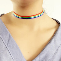 2017 Fashion Colorful Rainbow Choker Necklace Clavicle Chain Ribbon For Men Women Lesbian Bisexual Lgbt Gay Pride Simple Jewelry