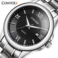 COMTEX Men Quartz Watch army luminous Stainless Steel Roman Numeral big dial watch Classic Fashion Brand character Watch for Men