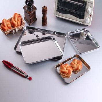 Stainless Steel Bakeware Cookie Pan Storage Trays Dishes Plate Barbecue Plate Storage Trays, Deep Edge, Dishwasher Safe