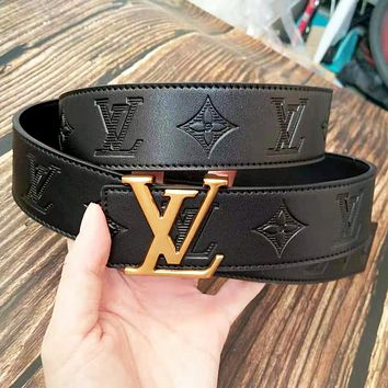 Louis Vuitton LV Fashion New Monogram Print Leather Couple Belt Black