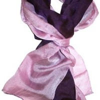 LibbySue-Subtle Iridescent, Color-Blocked Ombre Oblong Scarf in Lustrous Colors