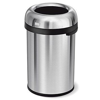 simplehuman 115 Liter / 30 Gallon Bullet Open Top Trash Can Commercial Grade, Heavy Gauge Brushed Stainless Steel 115 Liter (30 Gallon)