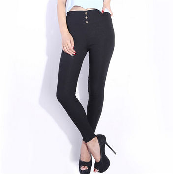 Women Skinny High Waist Leggings Stretchy Sexy Pants Pencil Jeggings Hot sale One size black