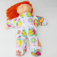 """Cabbage Patch Clothes, FITS 16"""" KIDS girl dOLL, Pajamas Sleeper Pjs, """"Emma in Apples"""""""