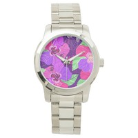 Purple Hibiscus Wrist Watch