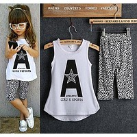 2pcs Toddler Kids Baby Girl Outfits Summer Top T-shirt+Leopard Pants Clothes Set White+Leopard 6-7Years