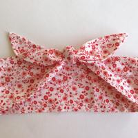 Dolly Headband, Tie-Up - White with Small Red Flowers -  READY TO SHIP!